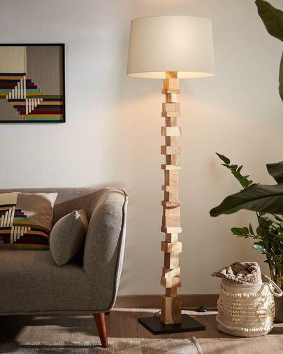 Lámpara de pie Oralie de madera maciza