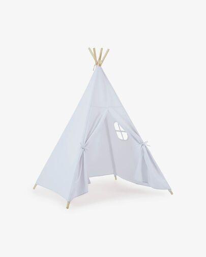Tipi Darlyn 100% algodón azul y patas de madera maciza de pino