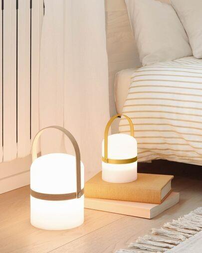 Lámpara de mesa LED mini Ridley polietileno mostaza