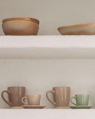 Taza de café con plato Tilia cerámica color beige