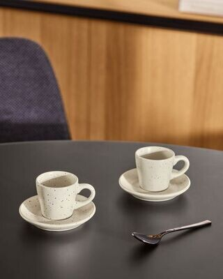 Taza de café con plato Aratani blanco