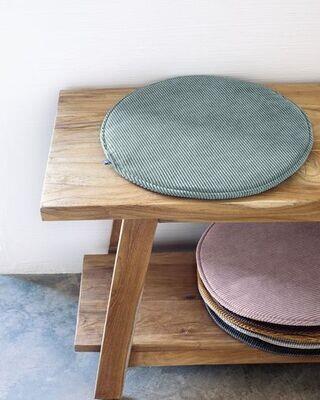 Cojín para silla redondo Sora pana turquesa Ø 35 cm