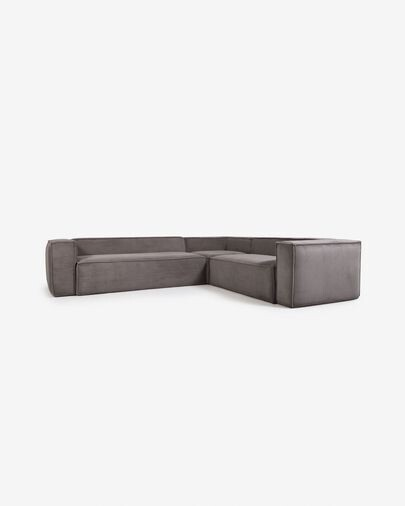 Sofá rinconero Blok 5 plazas pana gris 320 x 290 cm