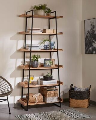 Estantería Basi de madera maciza de acacia 80 x 185 cm