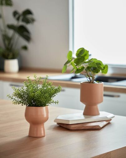 Planta artificial Myriophyllum con maceta de cerámica rosa 21,6 cm