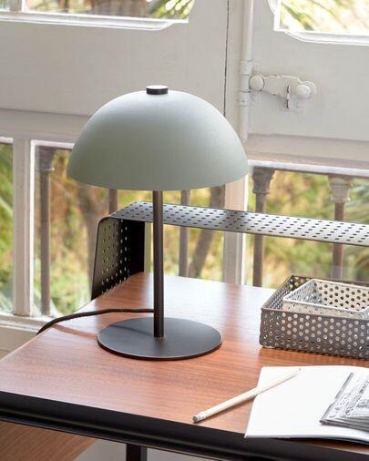 Lámpara de mesa Aleyla de metal con acabado verde