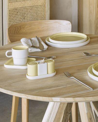 Set Midori salero y pimentero cerámica amarillo