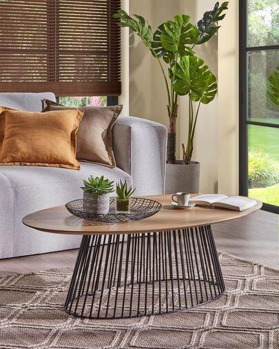 Mesa de centro Leska 120 x 65 cm madera maciza de mango y pie de acero acabado negro