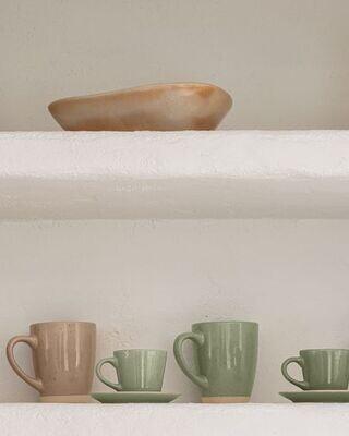 Taza de café con plato Tilia cerámica color verde claro