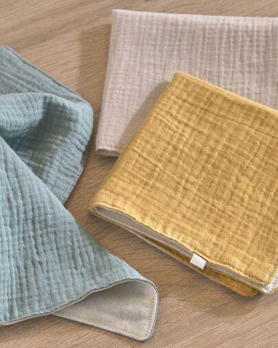 Set Lihuen de 3 toallas 100% algodón orgánico (GOTS) mostaza turquesa y beige