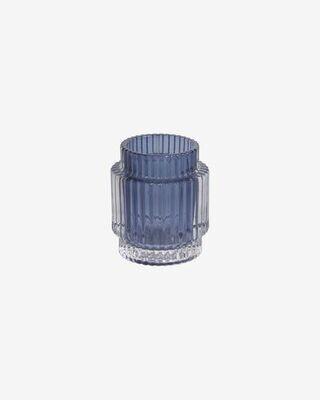 Candelabro Florentine de vidrio transparente y azul