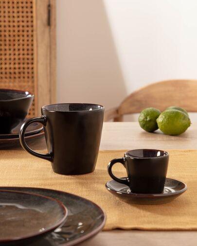 Taza de café con plato Odile de cerámica azul oscuro