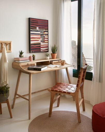 Escritorio Nalu chapa y madera maciza mindi y detalles en ratán 110 x 60 cm