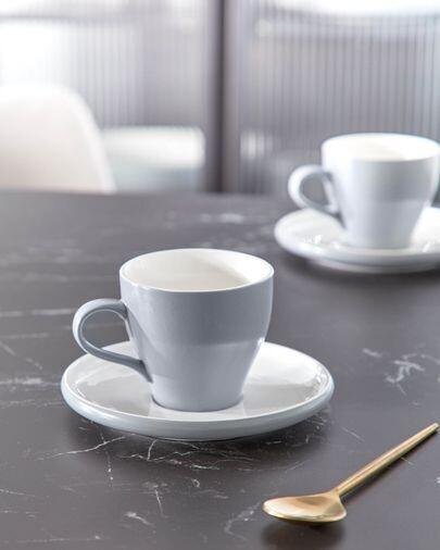 Taza de café con plato Sadashi de porcelana blanco y gris