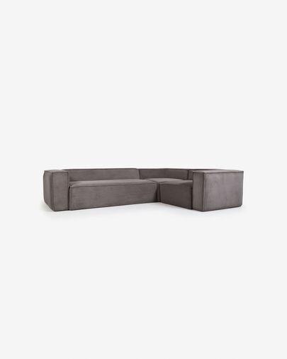 Sofá rinconero Blok 4 plazas pana gris 320 x 230 cm