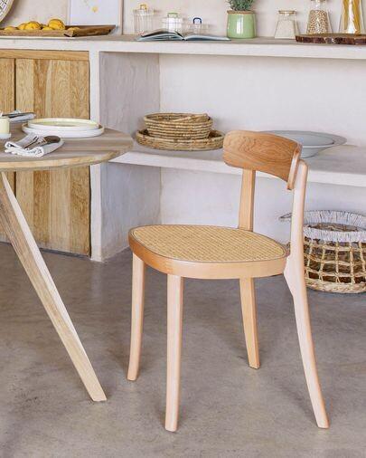 Silla Romane madera maciza haya acabado natural con chapa de fresno y ratán