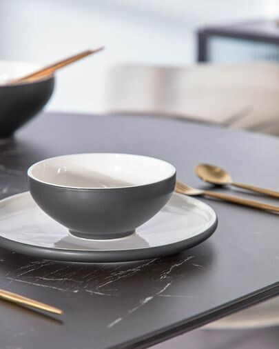 Bol Sadashi pequeño de porcelana blanco y negro