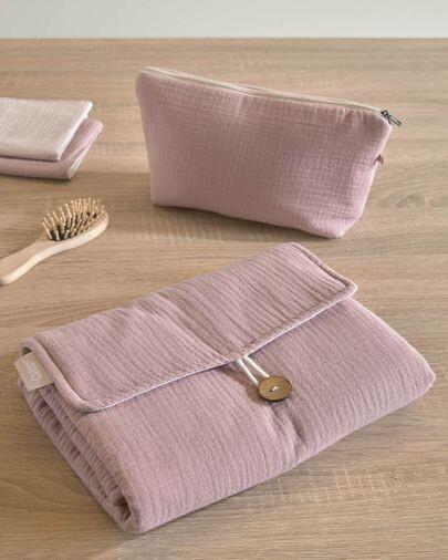 Cambiador de viaje Jeila 100% algodón orgánico (GOTS) rosa