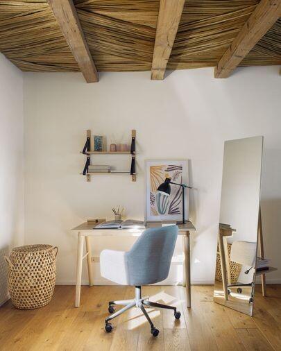 Estantería de pared Nazeli de madera maciza de roble 60 x 60 cm