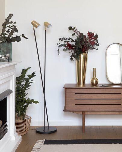 Lámpara de pie Clemence de metal negro y pantallas con acabado dorado