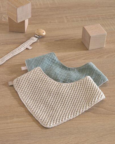 Set Lupe de 2 bandanas 100% algodón orgánico (GOTS) beige y turquesa