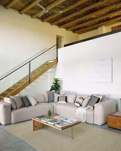 Sofá rinconero Blok 4 plazas beige 290 x 290 cm