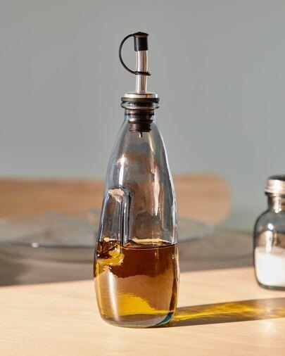 Aceitera-vinagrera Rohan de vidrio azul 100% reciclado