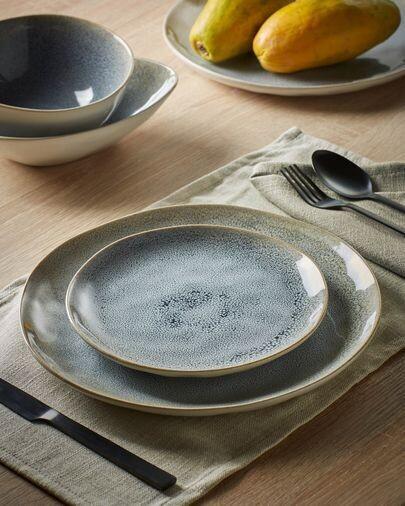 Plato plano Sachi de cerámica azul claro