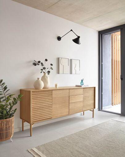 Aparador Lenon 200 x 86 cm de madera maciza y chapa de roble FSC MIX Credit