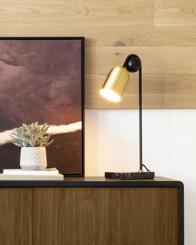 Lámpara de mesa Natsumi de metal, madera y mármol