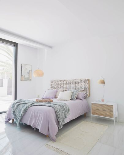 Pantalla lámpara de techo Deyarina de ratán con acabado natural Ø 45 cm