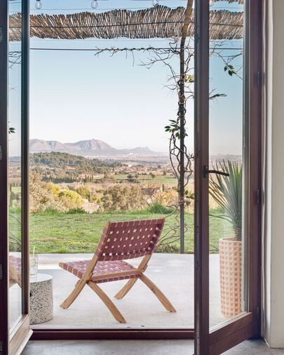 Sillón plegable Chabeli madera maciza acacia y cuerda terracota FSC 100%