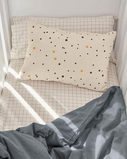 Funda cojín Xiel 100% algodón orgánico (GOTS) topos negro y amarillo 30 x 50 cm