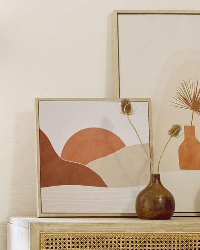 Cuadro Izem sol y montañas marrón 40 x 40 cm