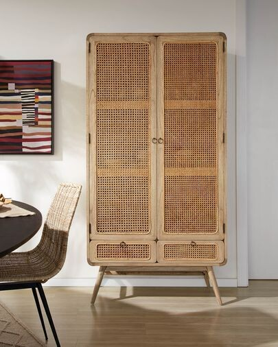Armario Nalu de madera maciza de mindi y ratán 90 x 175 cm