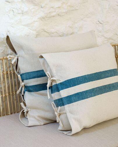 Funda cojín Ziza 100% algodón rayas gruesas azul y blanco 45 x 45 cm