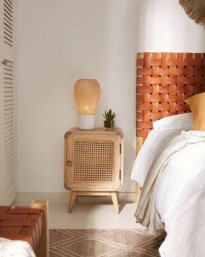 Lámpara de mesa Derora de bambú