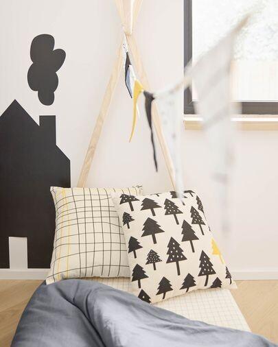 Funda cojín Saori 100% algodón orgánico (GOTS) rayas negro y amarillo 45 x 45 cm