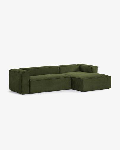 Sofá Blok 3 plazas chaise longue derecho pana gruesa verde 300 cm