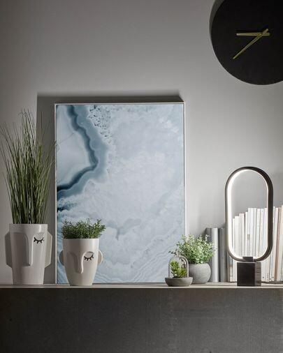 Mix Suculenta artificial con maceta de cerámica y cristal 13 cm