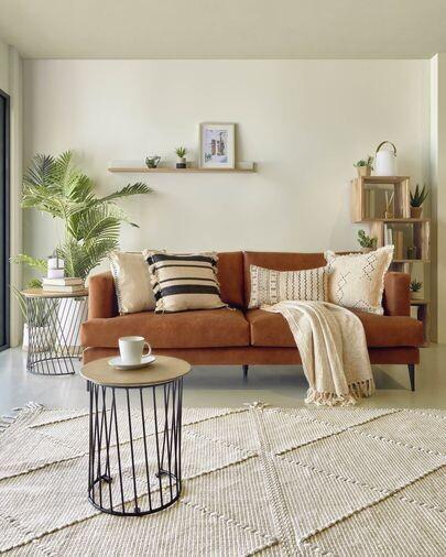 Sofá Tanya 2 plazas tapizado marrón claro 183 cm
