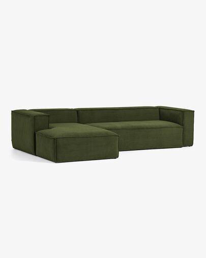 Sofá Blok 3 plazas chaise longue izquierdo pana gruesa verde 330 cm
