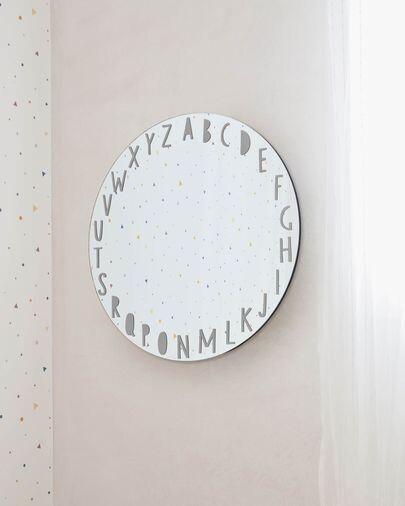 Espejo de pared redondo Keila abecedario gris Ø 50 cm