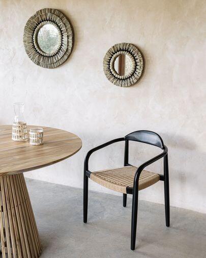 Silla Nina madera maciza eucalipto acabado negro y cuerda de papel beige FSC 100%