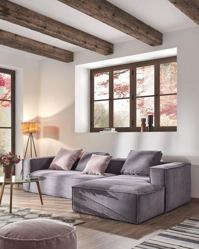 Sofá Blok 3 plazas chaise longue derecho pana gris 300 cm