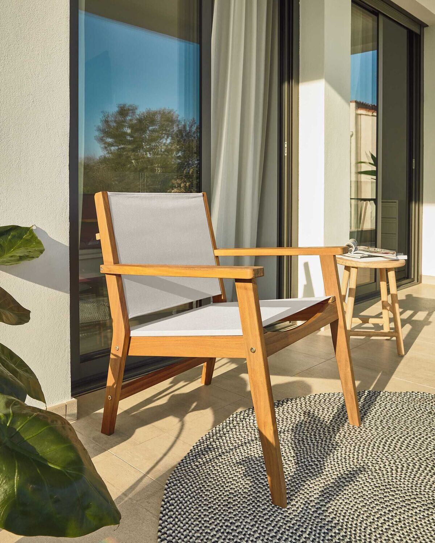 Sillón de exterior Hilda beige y madera maciza acacia FSC 100%