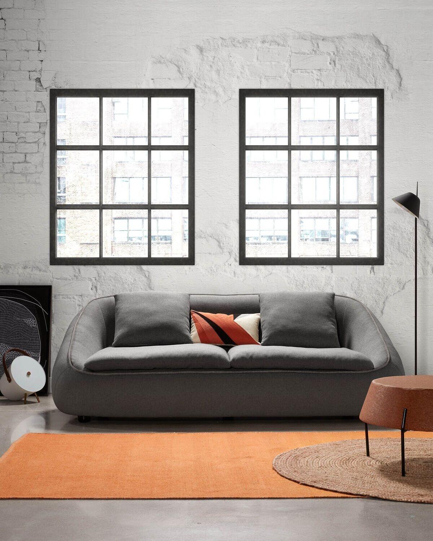 Sofá Safira 3 plazas gris oscuro 220 cm