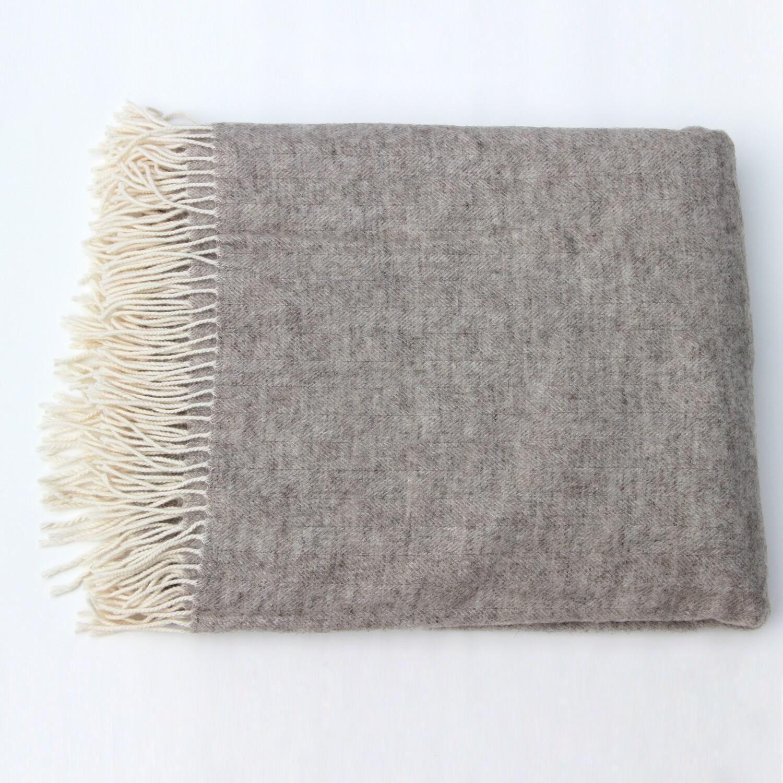 Heather Grey Merino Wool Throw Blanket