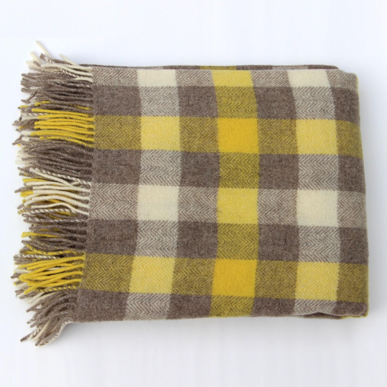 Plaid Pure New Wool Throw Blanket