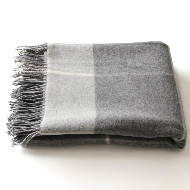 Plaid Merino Wool Throw Blanket